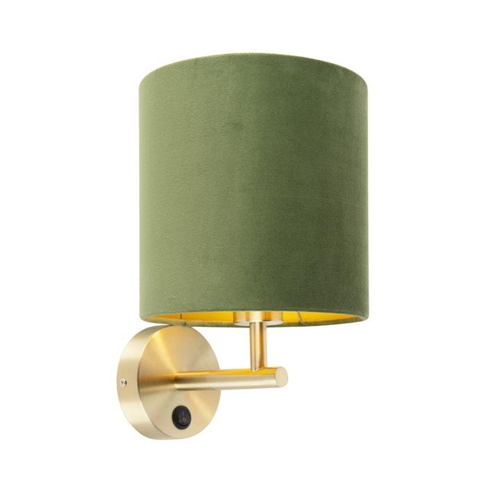 Tight-wall-lamp-gold-with-green-velvet-shade---Matt