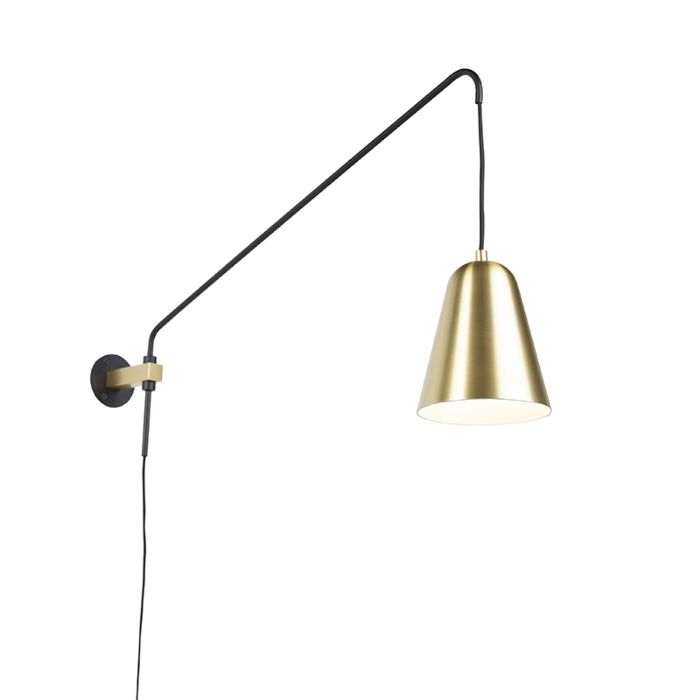 Retro-wall-lamp-gold-/-brass-with-shade---Demi