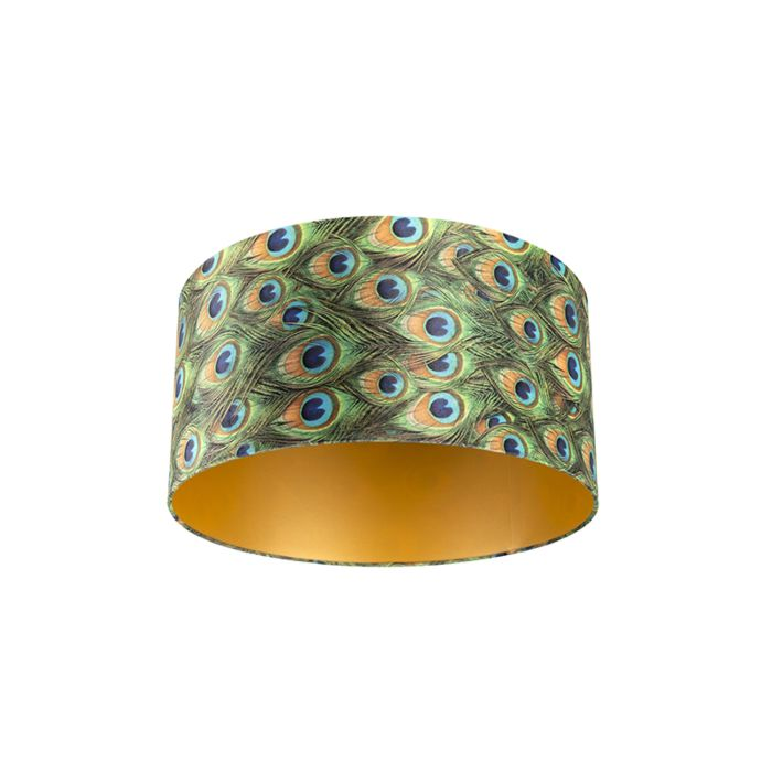 Velor-lampshade-peacock-design-50/50/25-with-golden-interior