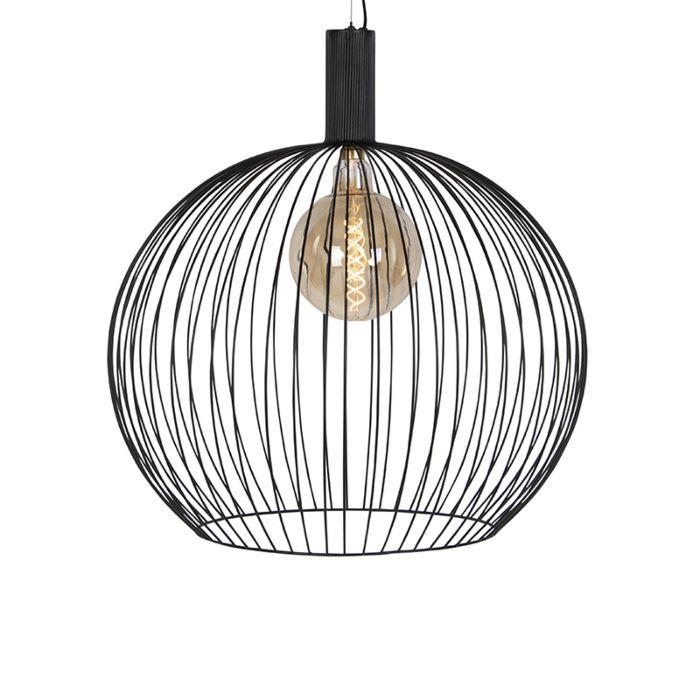 Modern-Round-Pendant-Lamp-70cm-Black---Wire