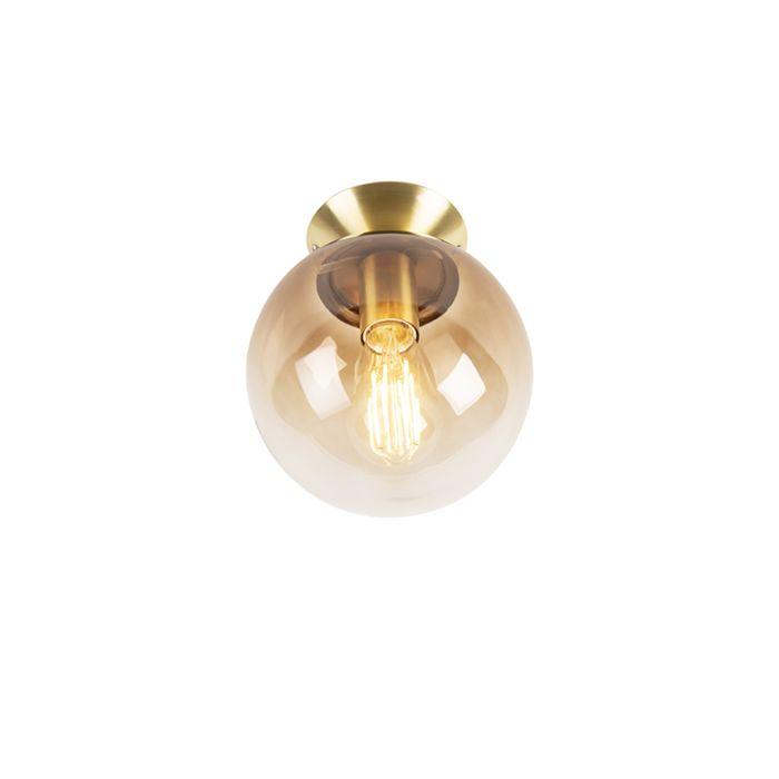 Art-Deco-Ceiling-Lamp-Brass-with-Smoke-Glass-Shade---Pallon