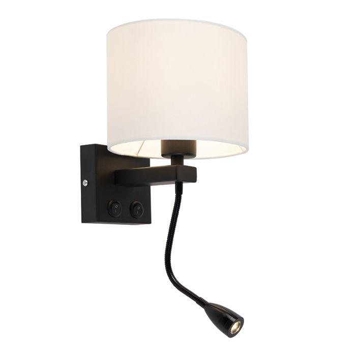 Modern-wall-lamp-black-with-white-shade---Brescia