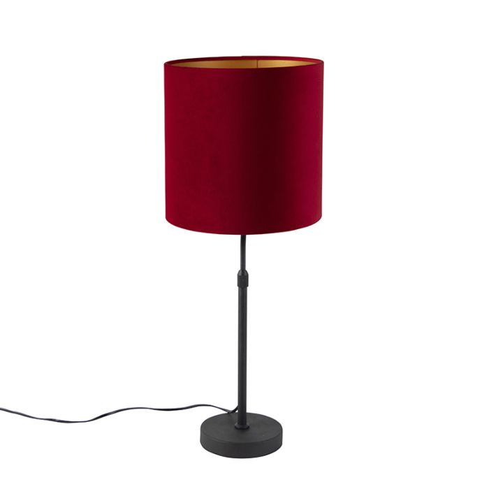 Table Lamp Black With Velor Shade Red