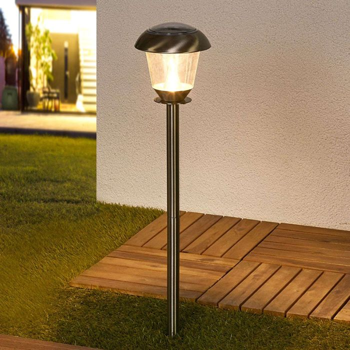 Classic-outdoor-lamp-stainless-steel-incl.-LED-on-solar-energy---Nela