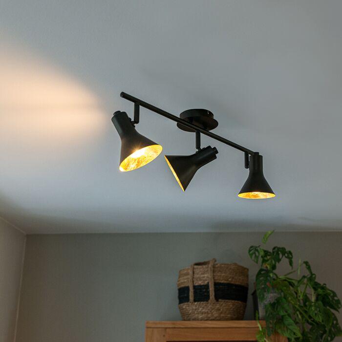 Modern-spot-black-with-gold-3-light---Magno