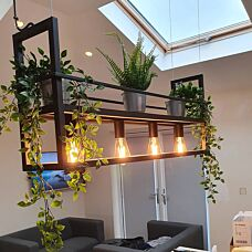 Industrial-hanging-lamp-black-with-4-light-rack---Cage-Rack